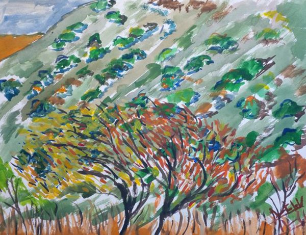 Autumn-Leaves-of-Trees-Kazakhstan-2014,-watercolour,-41-by-31cm