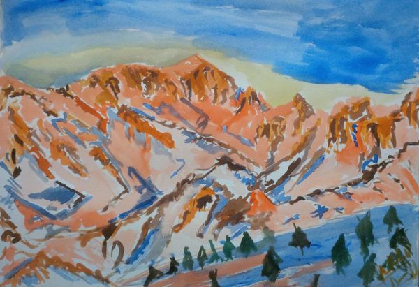 Flaming-Snow-Mountain-2014,-watercolour,-41-by-31cm