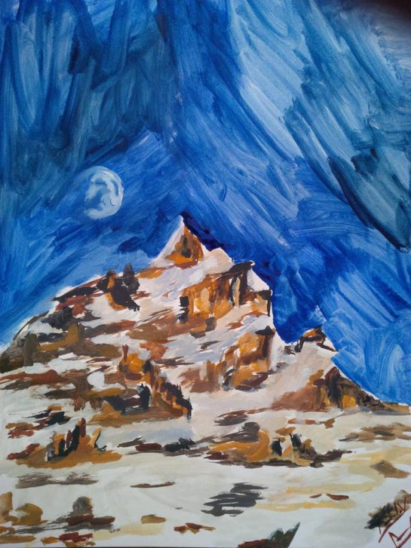 Moon in the Daytime over Mountain sketch 2014, watercolour, 41 by 31cm (Copy)