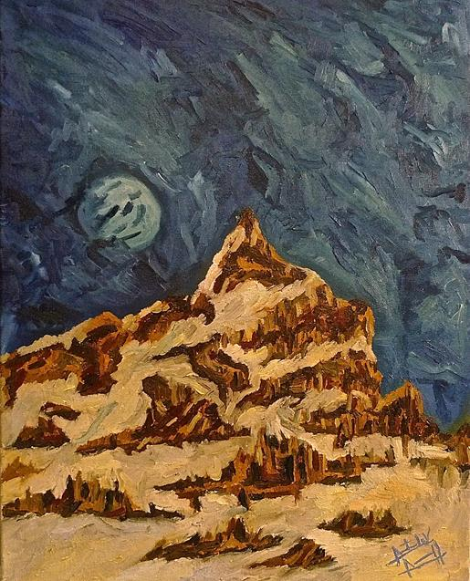 "Moon in the day time over mountain 2014, oil, 24"" by 15"" (Copy)"