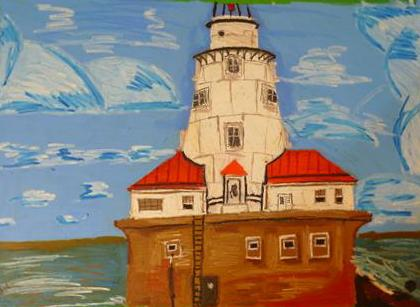 Rostislav Romanov Chicago light house, oil pastel on paper, 45cm by 35cm 2012