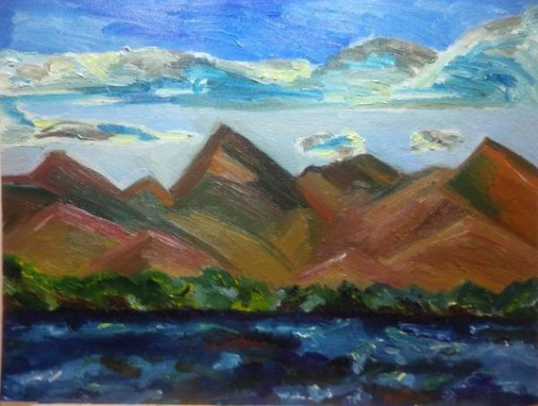 Rostislav Romanov Face on the moutian, Isle de margarita, oil on board, 45cm by 35cm 2013