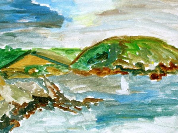 Rostislav Romanov Fraggle rock Cornwall, oil on canvas, 20cm by 15cm 2007