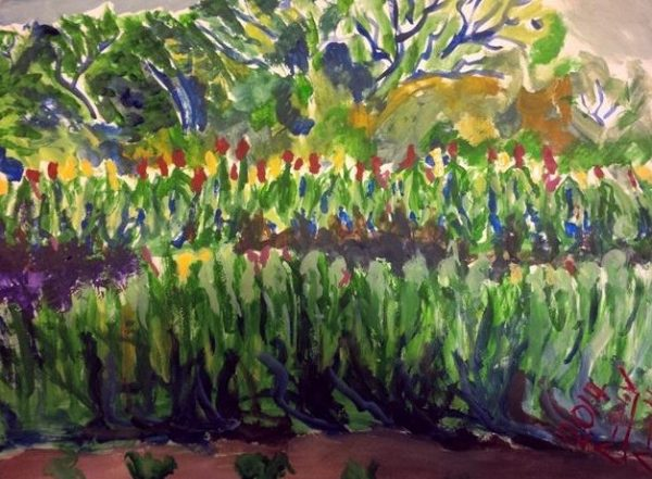 Rostislav Romanov Gardens of Capetown sketch, watercolour on paper, 31cm by 41cm 2013