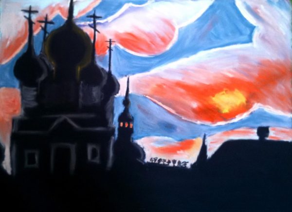 Rostislav Romanov  Ghost church in Rostov Russia, soft pastel on paper, 45 by 30cm 2010