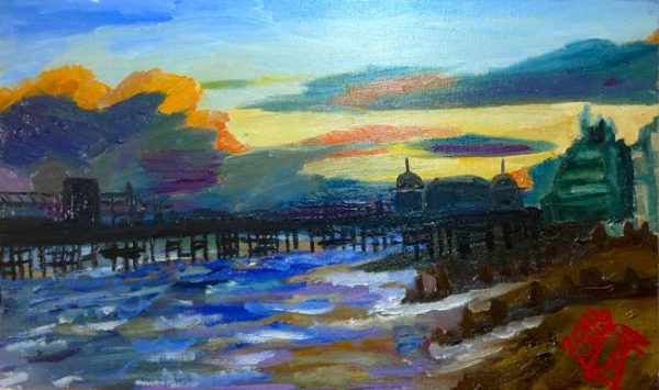 Rostislav Romanov Hasting pier burnt out, oil on canvas 30cm by 15cm 2013