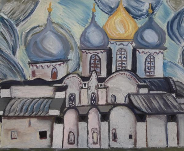 Rostislav Romanov  Oldest Russian church, soft pastel on paper, 45cm by 30cm 2009