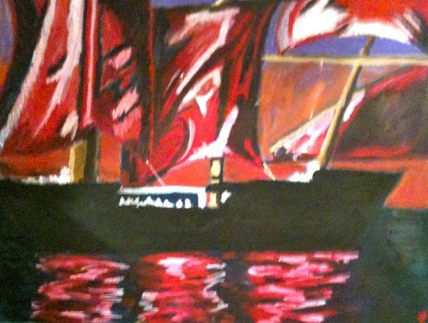 Rostislav Romanov Red sails on river neva spb, oil pastel on paper, 45 by 30 cm 2010