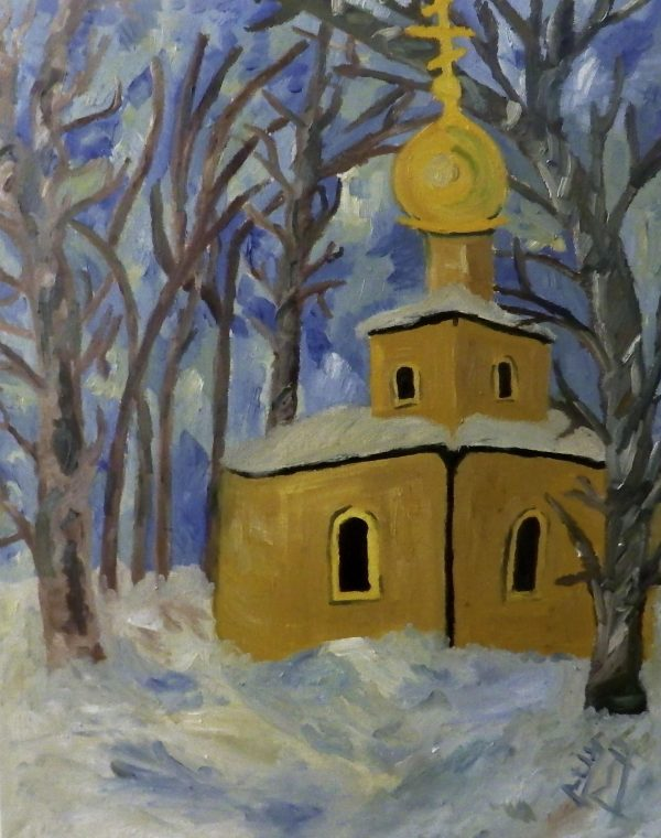 "Rostislav Romanov Russian church in snow, oil on canvas, 24"" by 15"" 2014"