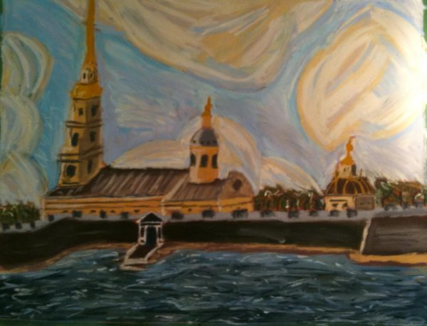 Rostislav Romanov Saint Peters and Paul cathedral SPB, soft pastel on paper, 45cm by 30cm 2010