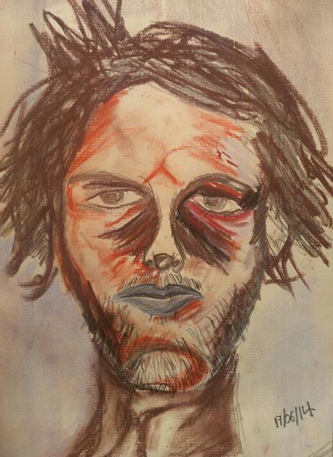 Rostislav Romanov Self Portrait 2014, charcoal, pastel, and pencil, A4