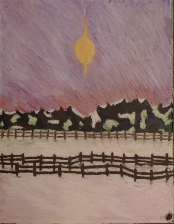 Rostislav Romanov Sister1 of Russian landscape, oil pastel on paper, 45cm by 30cm 2010