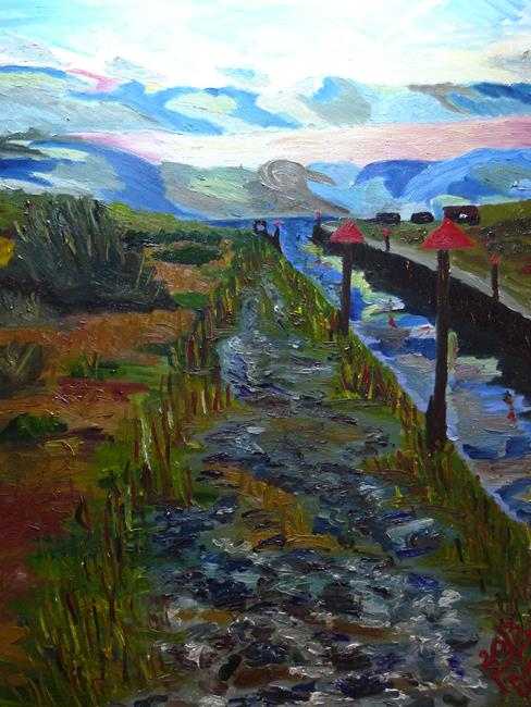 Rostislav Romanov Slip way to camber sands, oil on canvas, 75cm by 1m, 2013