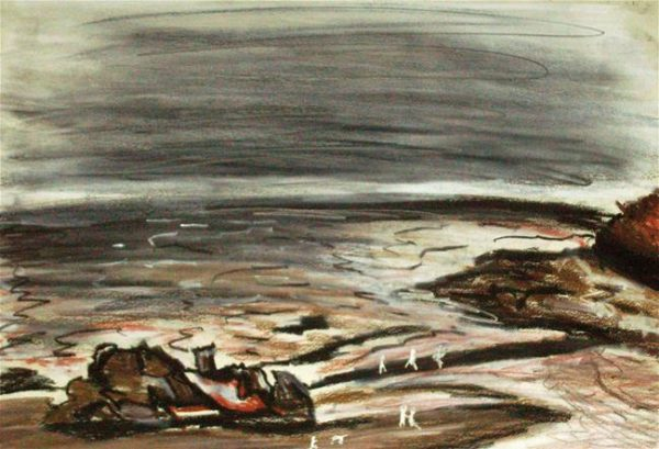 Rostislav Romanov Study of Cornwall 2007-2008, oil pastels, charcoal, and felt tip pen, 30 by 20cm (2)