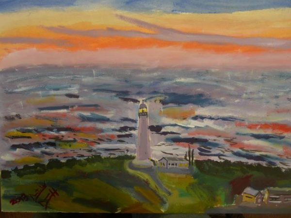 Rostislav Romanov Study of Lighthouse in Kommetjie, watercolour on paper, 41cm by 51cm 2013