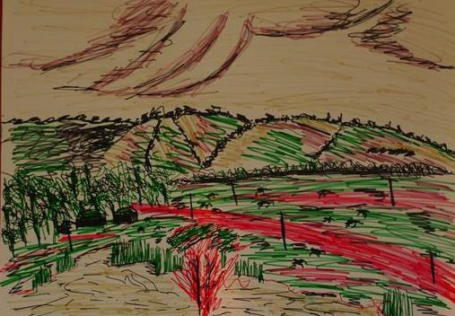 Rostislav Romanov Study of the Surrounding Area of Camber and Rye 2006, oil and soft pastels, felt tip pen. 30 by 20 cm