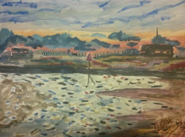 Rostislav Romanov View from Camber Sands to the nuclear power station, watercolour on paper, 31cm by 41cm 2013