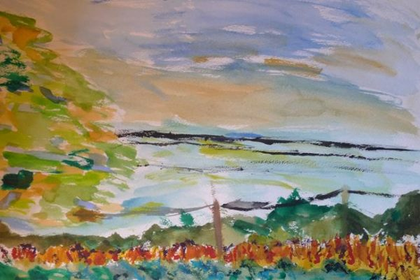 Rostislav Romanov Watercolour, fields in kent 2010 , 30cm by 20cm