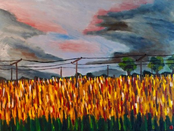 Rostislav Romanov rehab fields part 2 , oil on canvas, 60cm by 50cm 2011
