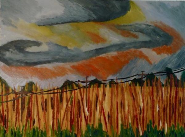 Rostislav Romanov rehab fields part 3, oil on canvas, 60cm by 50cm 2011
