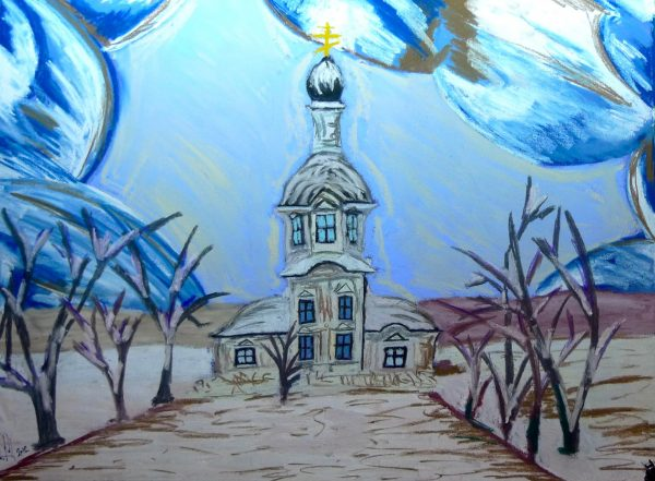 Rostislav Romanov strange church in Russia, soft pastel on paper, 45 cm by 30cm 2012