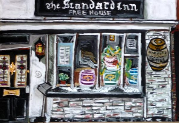 Rostislav Romanov the standard pub in rye, oil pastel on paper, 45cm by 35cm, 2009