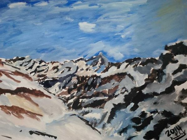 Snow Covered Mountains 2014, watercolour, 41 by 31cm (Copy)